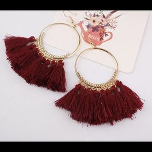 Jewelry - 🚨 5/$20 Wine red fringe tassel earrings